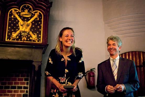 Viviane receiving the Prix de Rome award
