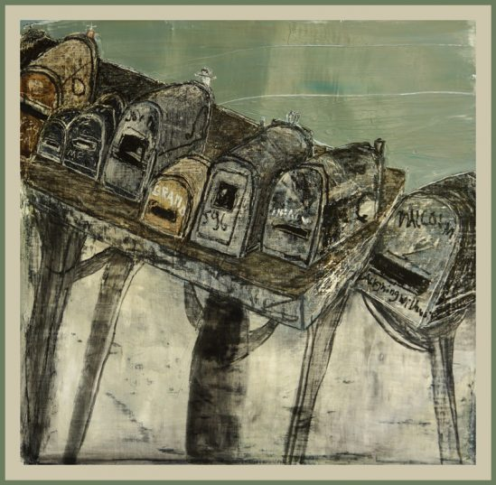 """""""Letterboxes on Big Sur"""" /oeuvres disponible /available paintings by Mayke Sassen"""