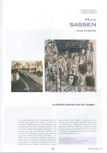 Article dans Miroir de l'Art, sur le Carnet de Voyage de Mayke Sassen