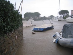 Sean Seamour IV under the storm flood